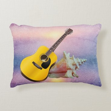 Beach Themed Guitar & Seashell Purple Beach Sunset Accent Pillow
