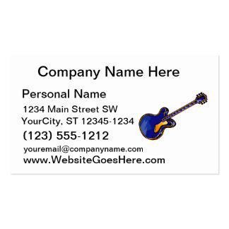 Guitar Semi Hollow Simple Blue Graphic Business Card Templates