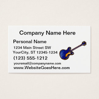 Guitar Semi Hollow Simple Blue Graphic Business Card