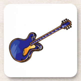 Guitar Semi Hollow Simple Blue Graphic Coaster