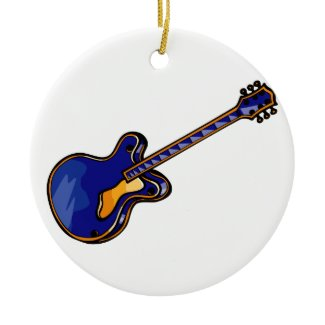 Guitar Semi Hollow Simple Blue Graphic ornament