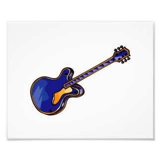 Guitar Semi Hollow Simple Blue Graphic Photograph