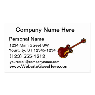 Guitar Semi Hollow Simple Burgundy Graphic Business Card Template