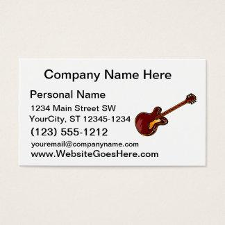 Guitar Semi Hollow Simple Burgundy Graphic Business Card
