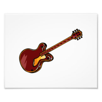 Guitar Semi Hollow Simple Burgundy Graphic Photo