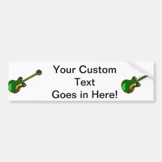Guitar Semi Hollow Simple green Graphic Bumper Sticker