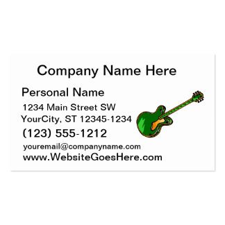 Guitar Semi Hollow Simple green Graphic Business Card Templates