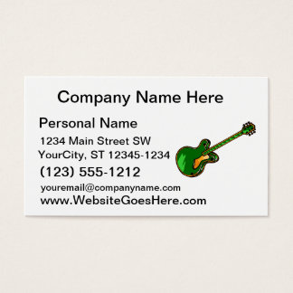 Guitar Semi Hollow Simple green Graphic Business Card