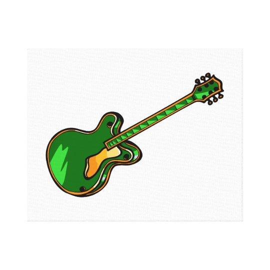 Guitar Semi Hollow Simple green Graphic Canvas Print