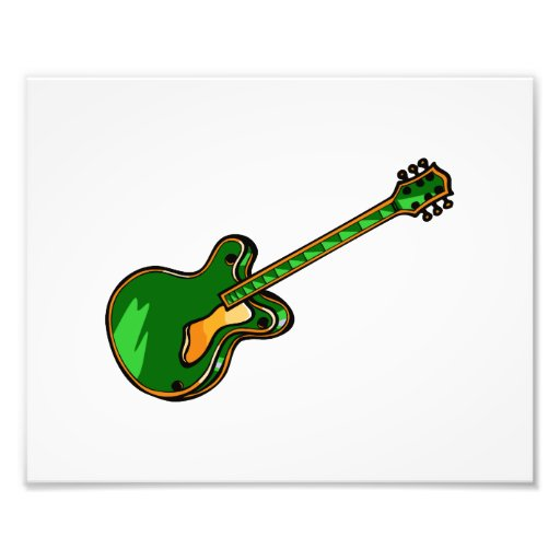 Guitar Semi Hollow Simple green Graphic Photo Print