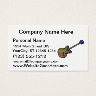 Guitar Semi Hollow Simple Psychadelic Graphic Business Card