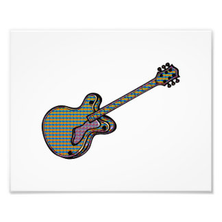 Guitar Semi Hollow Simple Psychadelic Graphic Photo Print