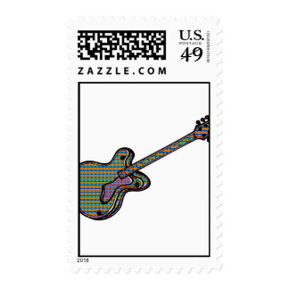 Guitar Semi Hollow Simple Psychadelic Graphic Postage