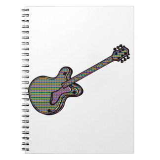 Guitar Semi Hollow Simple Psychadelic Graphic Spiral Notebook