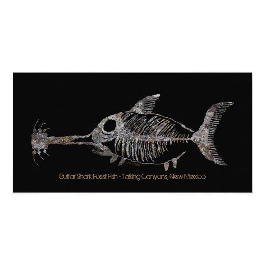 guitar shark fossil fish card zazzle com