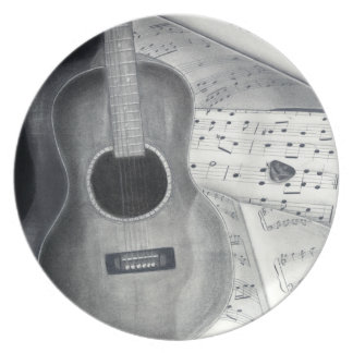 Guitar & Sheet Music Plate