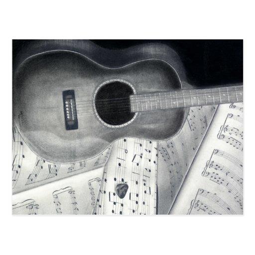 Guitar & Sheet Music Postcard