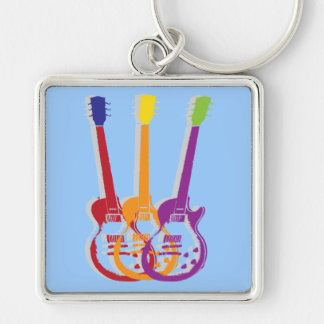 guitar Silver-Colored square keychain