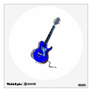 guitar single cutaway music design blue.png wall decal