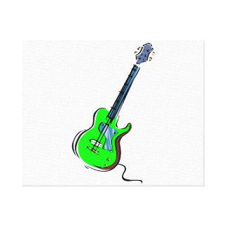 guitar single cutaway music design green.png canvas print
