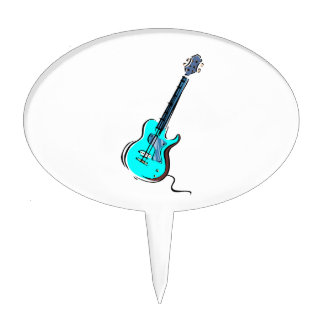 guitar single cutaway music design l blue.png cake topper