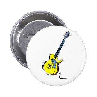 guitar single cutaway music design yellow.png pinback buttons