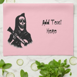 Guitar Skeleton Serenade Pink Kitchen Towel