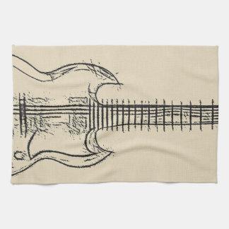 Guitar Sketch Hand Towels