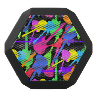 Guitar Splash Pattern Black Bluetooth Speaker