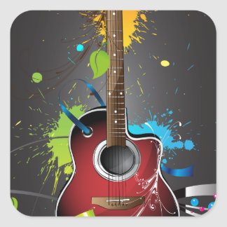 Guitar Splash Square Sticker