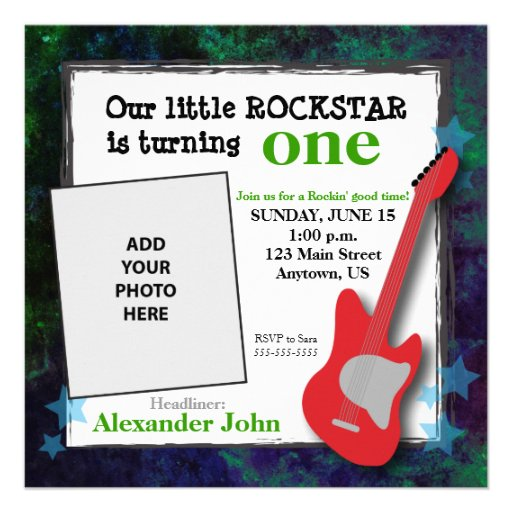 Personalized guitar birthday invitations custominvitations4u guitar stars boys rockstar birthday custom invitations filmwisefo