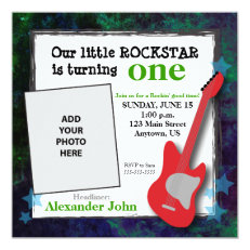 Guitar & Stars Boy's Rockstar Birthday 5.25x5.25 Square Paper Invitation Card