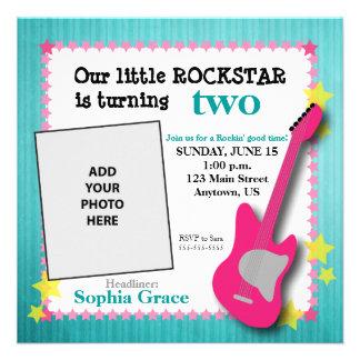 Guitar & Stars Girl's Rockstar Birthday Custom Invite