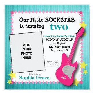 "Guitar & Stars Girl's Rockstar Birthday 5.25"" Square Invitation Card"