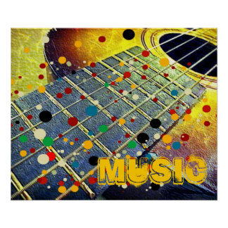 Guitar strings music colorful vintage poster