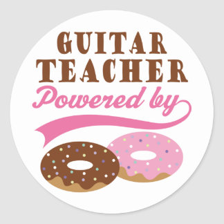 Guitar Teacher Funny Gift Round Stickers