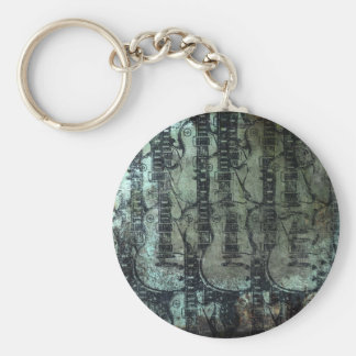 Guitar Teal Green Black Collage Keychain