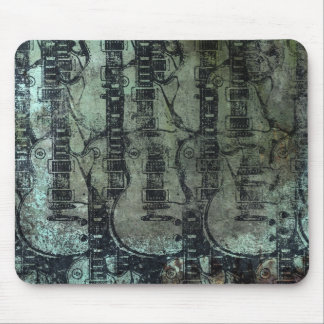 Guitar Teal Green Black Collage Mouse Pad