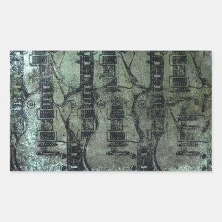 Guitar Teal Green Black Collage Rectangular Sticker