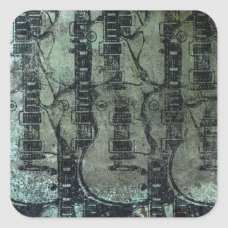 Guitar Teal Green Black Collage Square Sticker