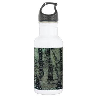Guitar Teal Green Black Collage Water Bottle