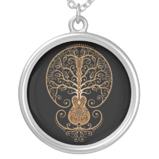 Guitar Tree (brown & black) Silver Plated Necklace