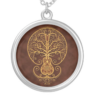 Guitar Tree (brown) Silver Plated Necklace