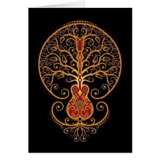 Guitar Tree Golden Red and Black Greeting Card
