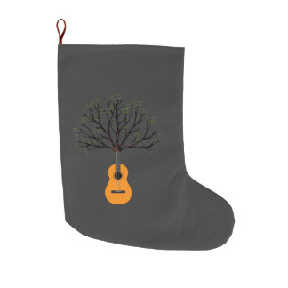 Guitar Tree Large Christmas Stocking