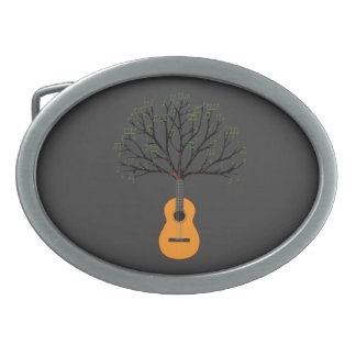 Guitar Tree Oval Belt Buckle
