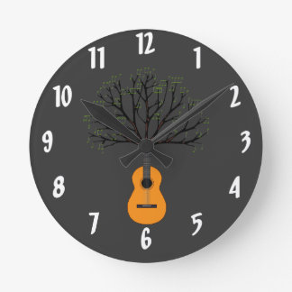 Guitar Tree Round Clock
