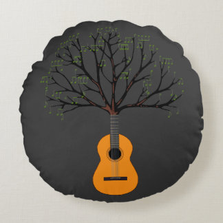 Guitar Tree Round Pillow