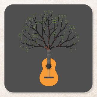 Guitar Tree Square Paper Coaster