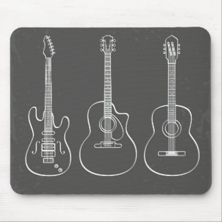 Guitar trio retro grunge music mouse pad